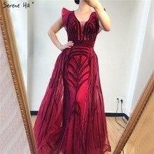 Dubaj głębokie V seksowne sukienki na bal 2019 bez rękawów kryształowe luksusowe Mermaid suknie na bal maturalny projekt Serene Hill DLA70198