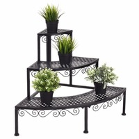 Garden 3 Tier Corner Flower Metal Plant Stand Indoor Outdoor Pot Pots Rack Shelf Display Stair Step Ladder Home Furniture OP3340
