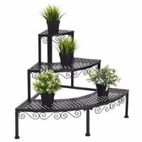 Garden 3 Tier Corner Flower Metal Plant Stand Indoor Outdoor Pot Pots Rack Shelf Display Stair Step Ladder Home Furniture OP3340