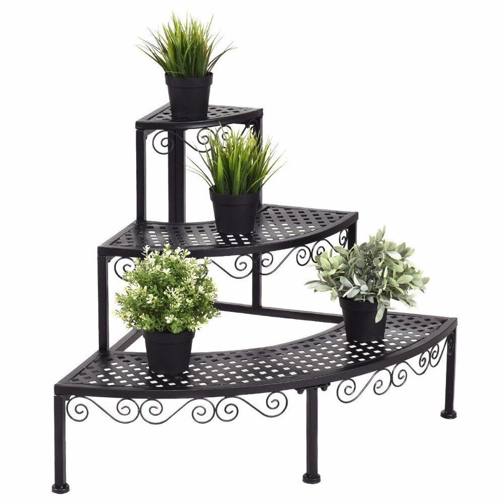 Jardin 3 niveaux coin fleur métal plante Stand intérieur extérieur Pot Pots Rack étagère affichage escalier étape échelle meubles de maison OP3340