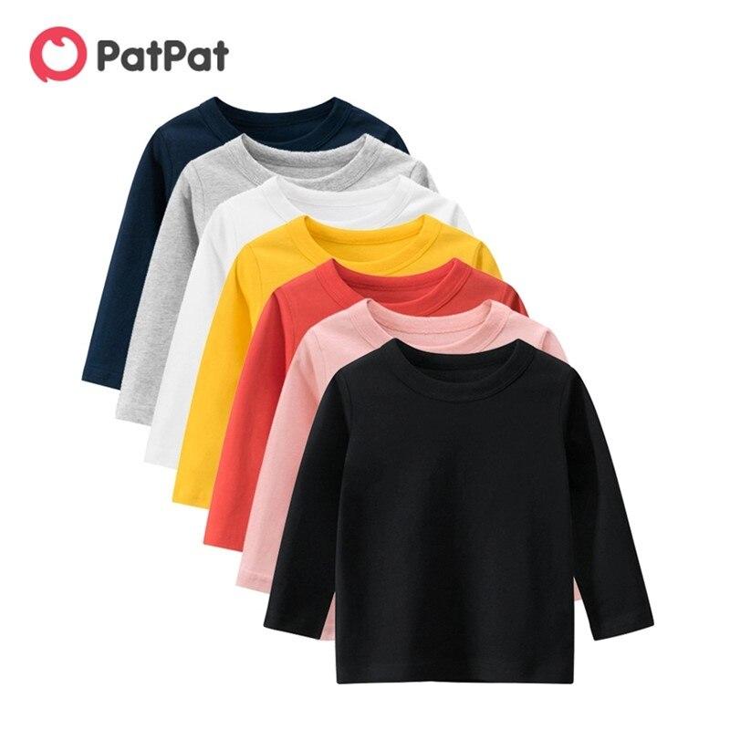 PatPat/Новое поступление 2020 года; Повседневная Однотонная футболка с длинными рукавами для малышей; Топы для маленьких девочек; Детская одежда с длинными рукавами|Тройники| | АлиЭкспресс