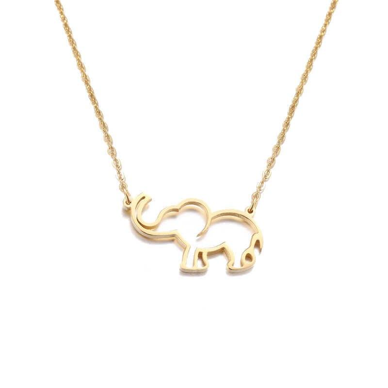 Oco Elephant Animal Pingente Colares Das Mulheres Dos Homens Acessórios Charme Jóias Em Aço Inoxidável Moda Longa Cadeia de Amigos Da Família