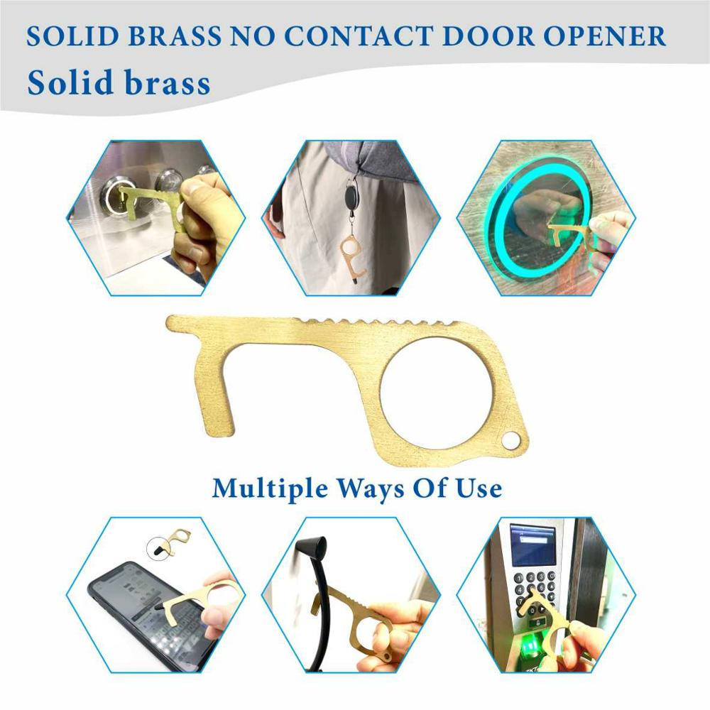 Protection Isolation Solid Brass Portable Non-Contact Sanitary Tools Contactless Safety No Touch Door Opener Tool