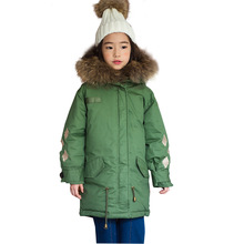 цена на Large fur collar hooded thick coat girls Down cotton jacket Kids Winter Jacket Parkas girl warm Snow outerwear Children Clothing