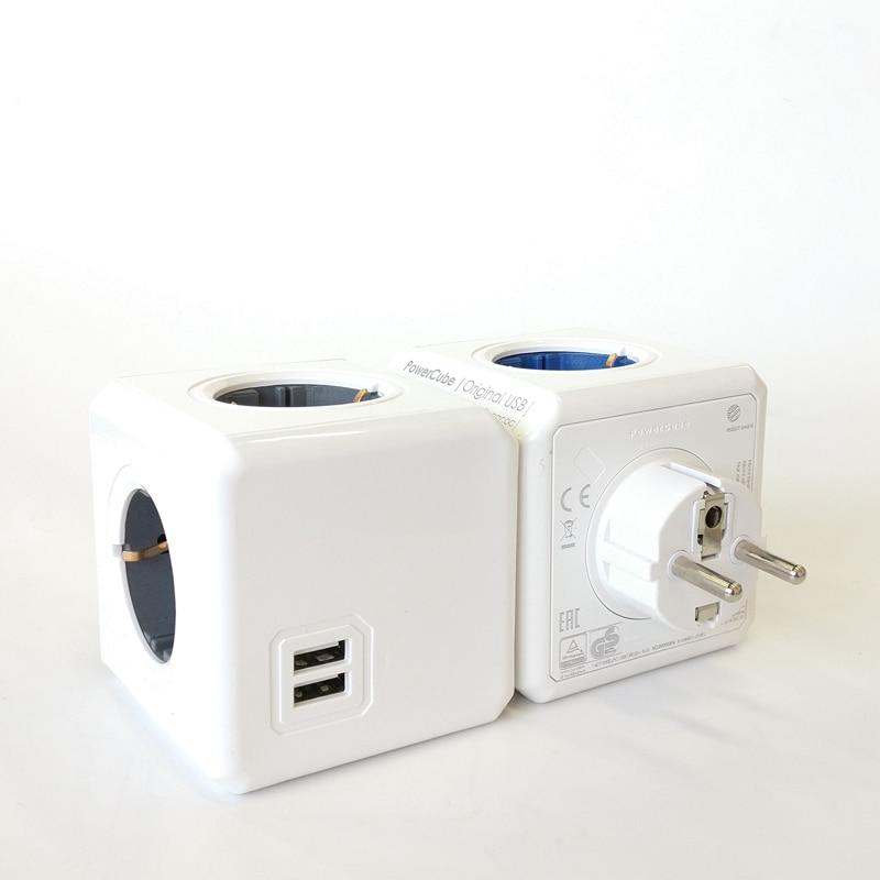 Image 3 - Allocacoc Powercube 4 AC EU Plug Power Strip Socket Travel Adapter 3680W Multiple 2 USB Port Portable Charger 5V 2.1A for phonesPlug With Socket   -