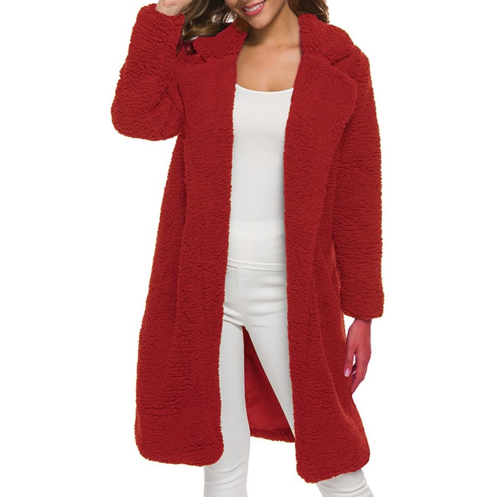 Fashion Autumn Winter Faux Fur Coat Women Warm Teddy Bear Coat Ladies Fur Jacket Female Teddy Outwear Plush Overcoat Long Coat