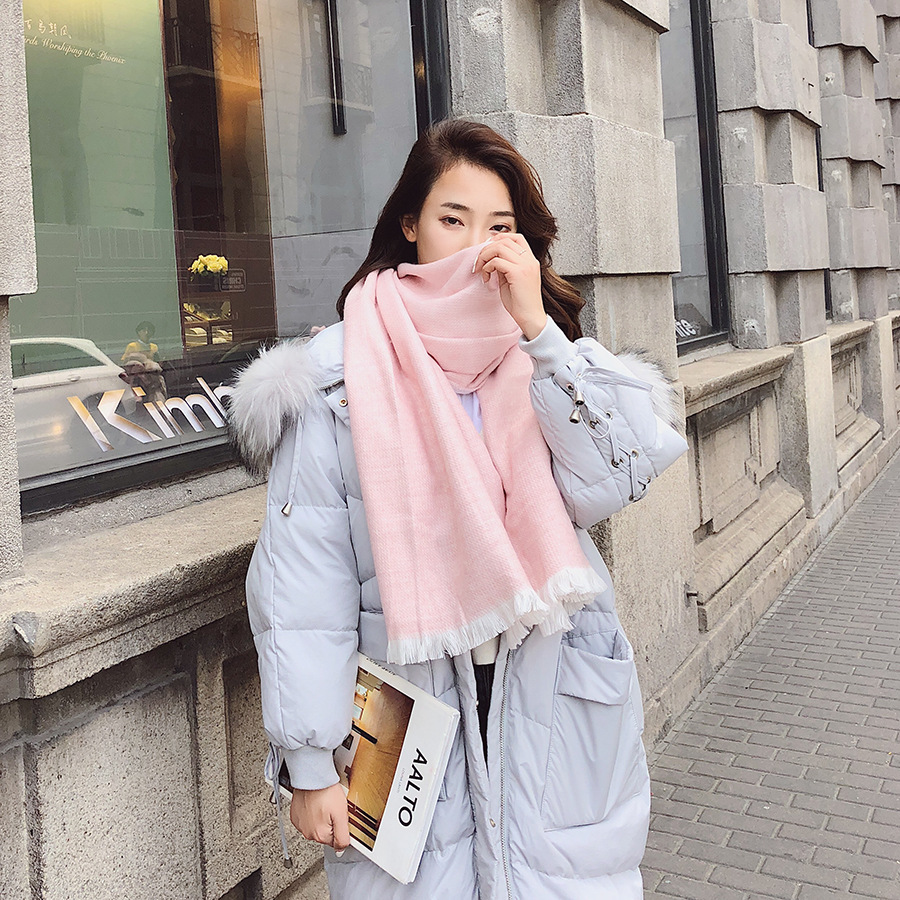 Autumn And Winter New Style Scarf Women's Western Style Pitting Double-Sided Long Shawl Gift Versatile Warm Shawl
