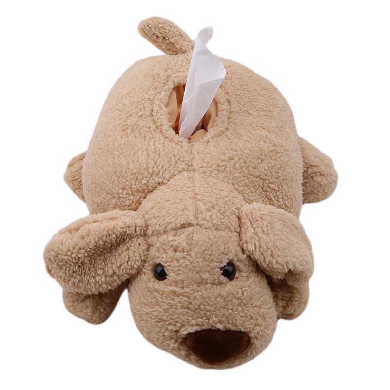 Cajas de pañuelos de felpa suave novedad servilletero Blanco marrón lindo peluche perro hiena conjunto de caja de pañuelos