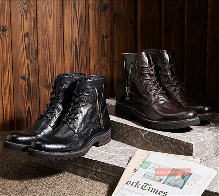 Cowskin Shoes Handmade Men Boots Fashion Shoes Classic Wild Stylish Unquie Boots (6)