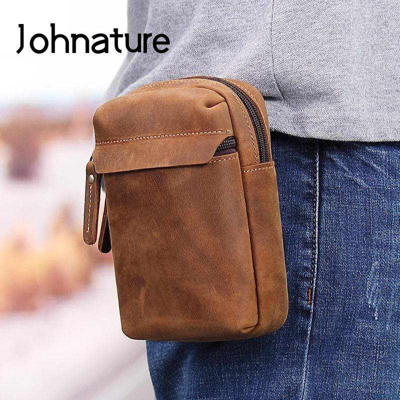 Johnature 2020 New Men Genuine Leather Waist Pack Belt Pouch Retro Multi Function Crazy Horse Leather Male Mobile Phone Bags