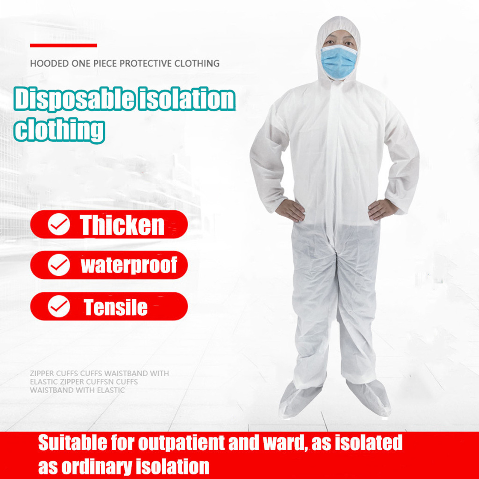 Men White Coverall Chemical Hazmat Isolation Suit Disposable Protective Clothing New Hooded Raincoats Disposable