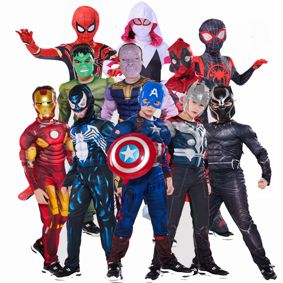 Spiderman Superman Iron Man Cosplay Costume For Boys Carnival Halloween Costume For Kids Deadpool Thor Black Panther Super Hero
