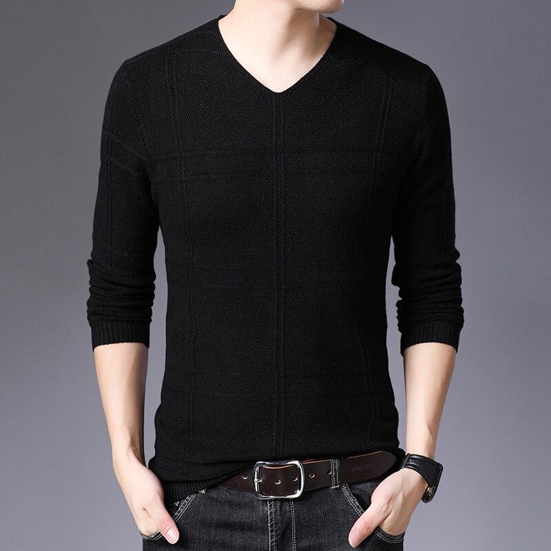 M-3XL 2019 Autumn Winter Casual Men's Sweater O-Neck Striped Slim Fit KnittwearPullovers