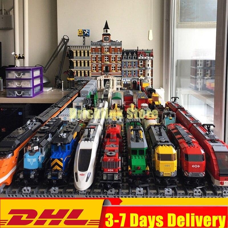 dhl em estoque trem de carga pesado transporte de passageiros trem construir blocos tijolos brinquedos compativeis