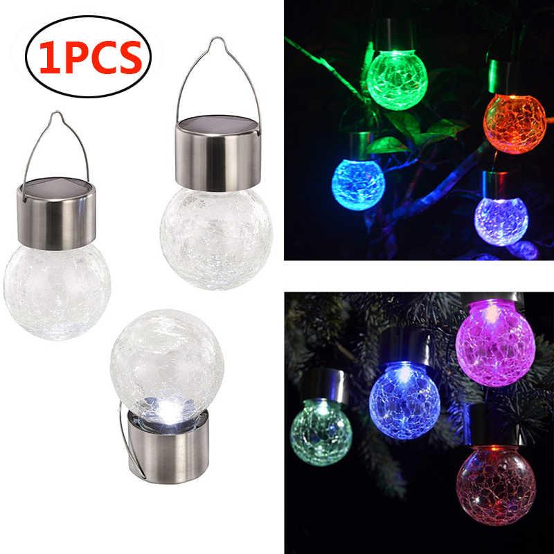 Dunia Sloar Lantern Outdoor Lampu Taman Perubahan Warna Retak Bola Kaca Led Gantung Lampu Teras Lampu Untuk Pesta Natal Pohon Lampu Surya Warecart