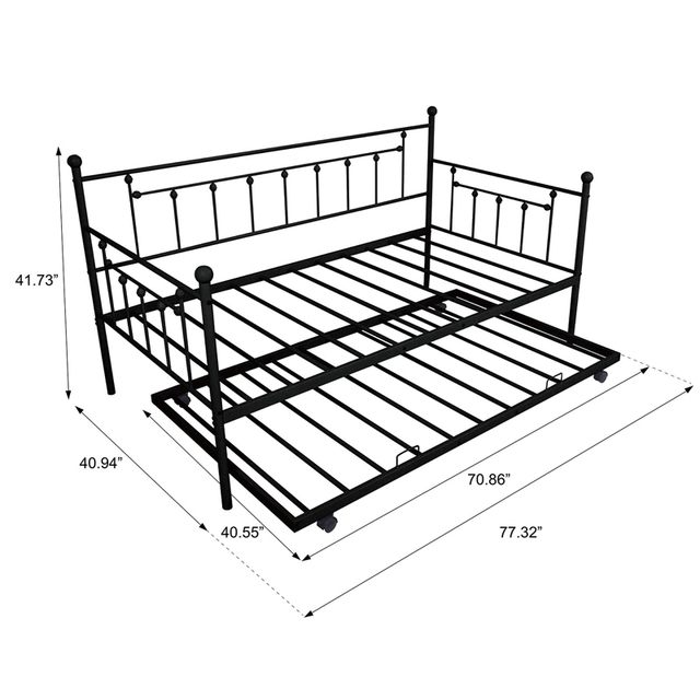 Daybed Sofa Steel Bed Frame With Trundle  5