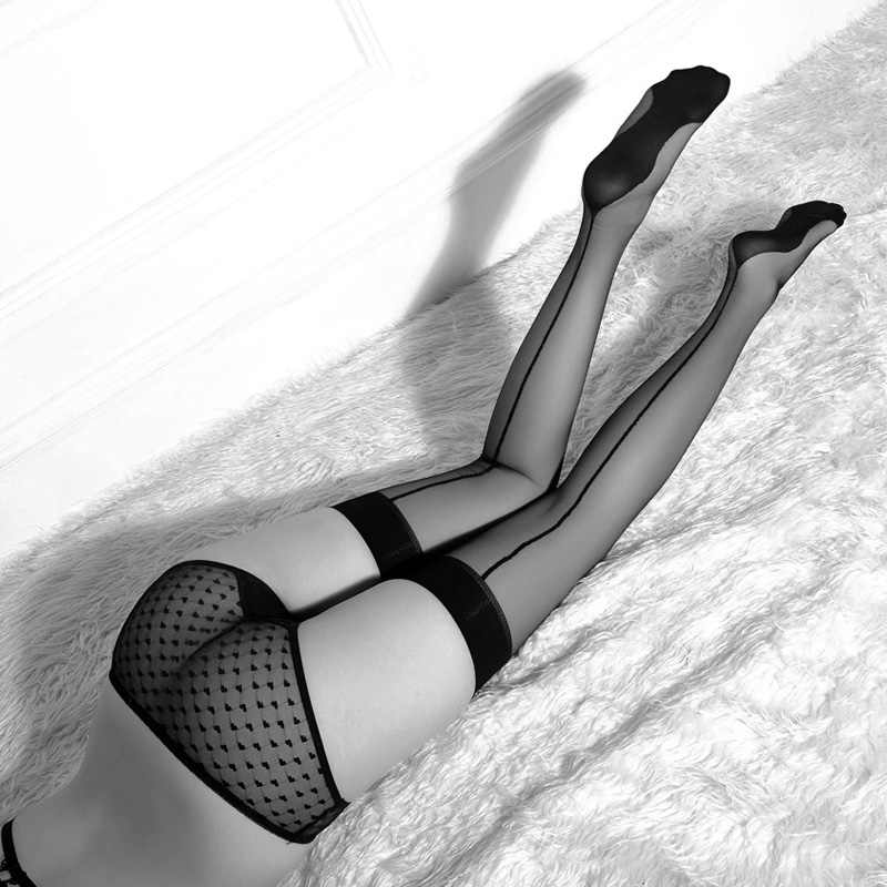 Nieuwe Super Dunne Sexy Kousen Vrouwen Retro Platte Rand Knie Lengte Kousen Dij Kleinigheidjes Zwarte Kleur