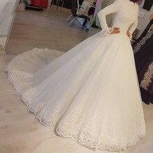 2021 Muslim Wedding Dress White Court Train Modest Design High Neck Long Sleeve Ball Lace Tulle Bridal Gowns Vestidos De Novia