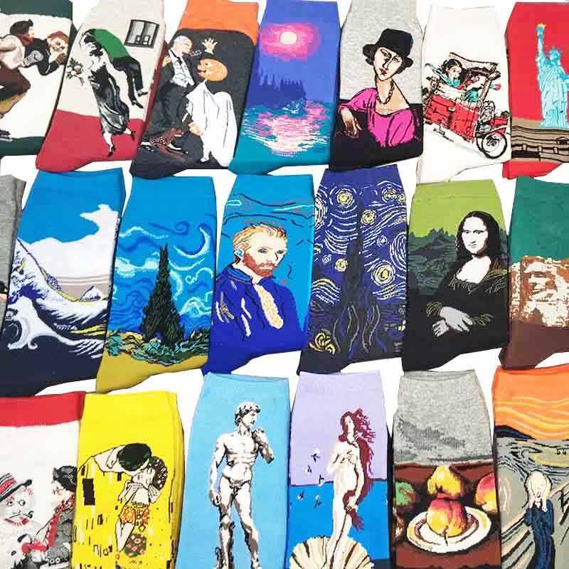 Noche Estrellada Otoño Invierno Retro mujer personalidad arte Van Gogh Mural mundo famoso pintura calcetines masculinos aceite divertido feliz hombres calcetines