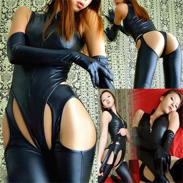 Designed Sexy Women Black Patent Leather Sexy Bodysuit Four-sided Open Leather Lingerie With Gloves Nightclub Wear