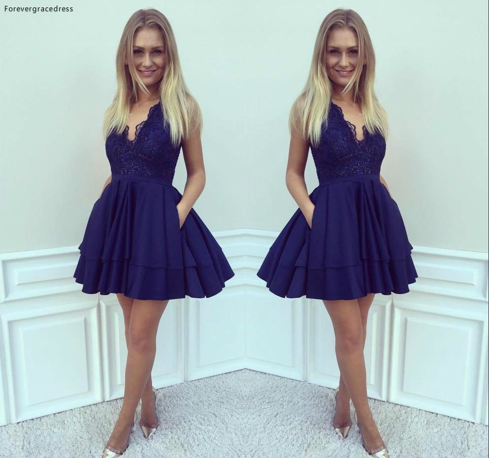 2019 Cheap Royal Blue Lace Cocktail Dress A-line Juniors Sweet 15 Graduation Party Dress Plus Size Custom Made
