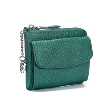 Women Wallets Genuine Leather Lady Mini Zipper Coin Purse Female Small Change Purse Credit Card Holder Coin Wallet with Key Ring