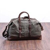 Wachs Leinwand Reisetasche Große Kapazität Gepäck Tasche Wasserdicht Seesack Männer Hand Koffer Wochenende Tasche Vintage Schulter Tasche