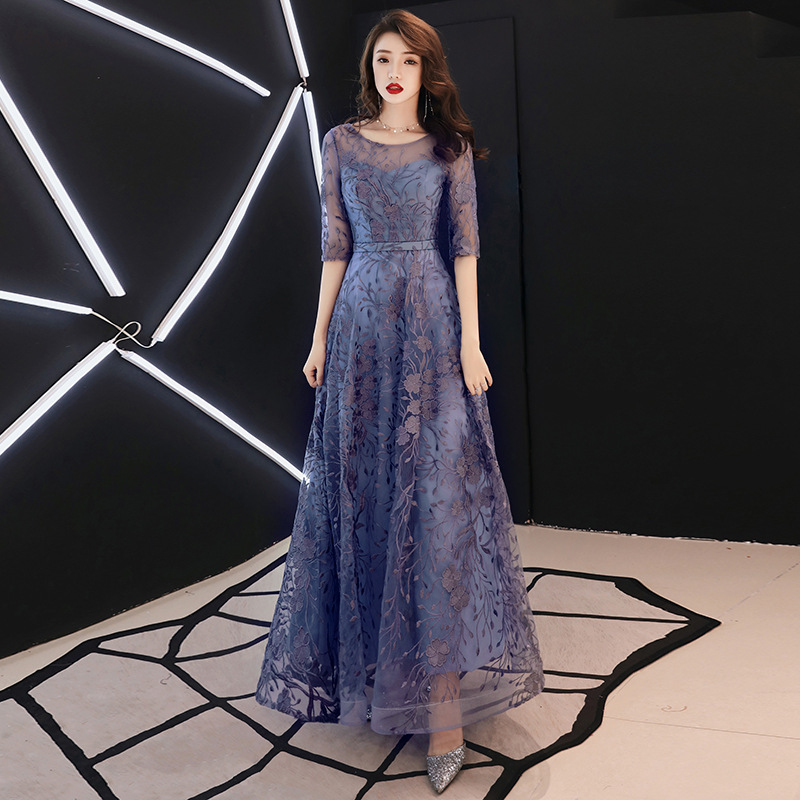 2019 New Lace Embroidery Long Mother Of The Bride Dresses For Weddings Half Sleeves Formal Evening Party Gown Robe De Soiree