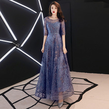 2019 New Lace Embroidery Long Mother of the Bride D