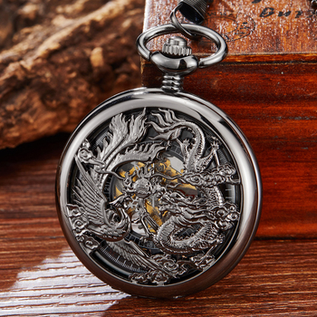 Mechanical Pocket Watch Dragon Play Ball Steampunk Skeleton Hand-wind Flip Clock Fob Watch With Chain For Men Women Collection vintage watch roman analog steampunk skeleton mechanical fob pocket watches clock pendant hand winding men women long chain gift