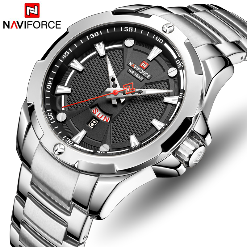 Men Watch NAVIFORCE Top Luxury Brand Fashion Silver Black Stainless Steel Mens Military Sport Waterproof Quartz Wrist Watches