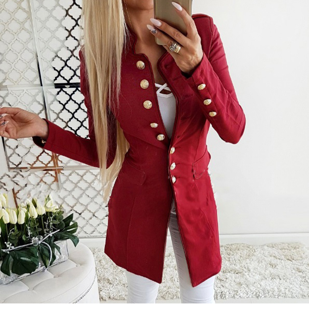 Fashion Women Office Double Breasted Suit Outwear Coat Ladies Blazers Slim Long Sleeve Suits Pockets Autumn Winter Suit Tops