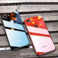 Placage de luxe en verre Bord Avec LOGO étui pour iPhone 6 6s 7 8 Plus Étui Solide Couleur Couverture Arrière Pour Apple iPhone X XS Max XR Cas