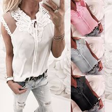 2019 Sexy Lace Patchwork Bow Tie Short Sleeve Tops Women Summer Casual Tees Up Shirts