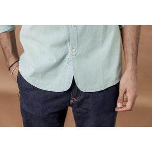 Image 4 - SIMWOOD standı yaka Dikey çizgili gömlek erkekler % 100% pamuk klasik denim slim fit minimalist rahat gömlek CS135