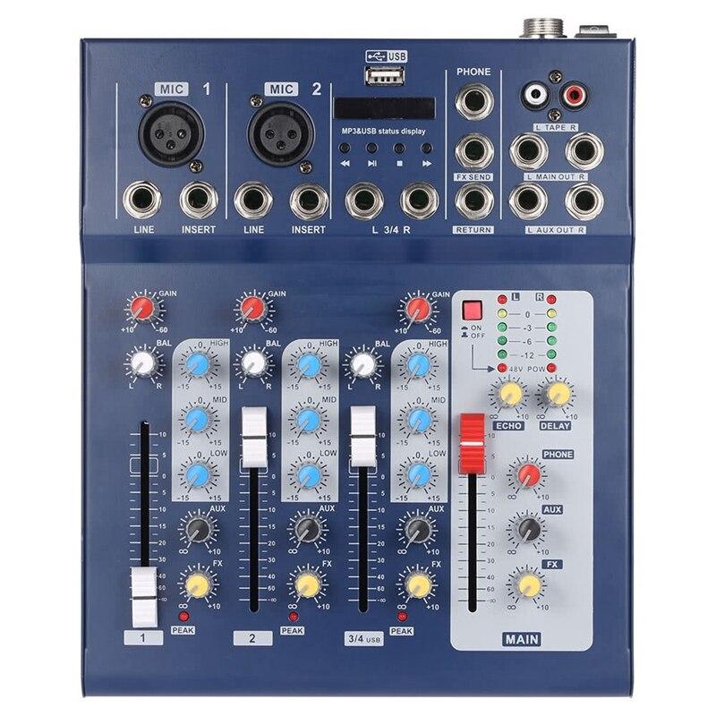 Console de mixage F4-Usb Console de mixage Audio ligne micro numérique 4 canaux avec alimentation fantôme 48V pour l'enregistrement Dj scène prise Eu