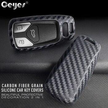 Ceyes samochodów naklejki ochrony stylizacji akcesoria pojemnik na naboje Case dla Audi TT A7 nowy A4 A4L A5 QT 8S B9 Q5 zdalnego włókna węglowego