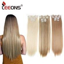 Leeons 16 цветов 16 клипс длинные прямые синтетические волосы для наращивания на клипсах из высокотемпературного волокна черные коричневые шиньоны