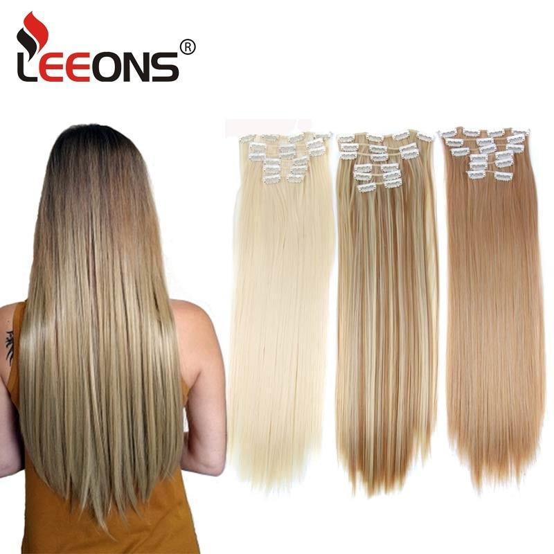 Clips de extensiones de cabello Leeons de 16 colores, largo, recto, sintético, en fibra de alta temperatura, peluca negra y marrón