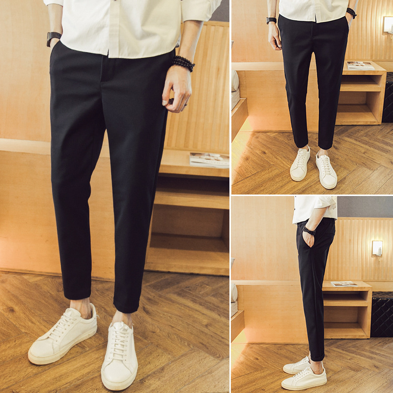 Autumn And Winter Korean-style Slim Fit Slimming 9 Points Skinny Pants Harem Pants Drape Suit Pants Fashion Man Capri Pants MEN'