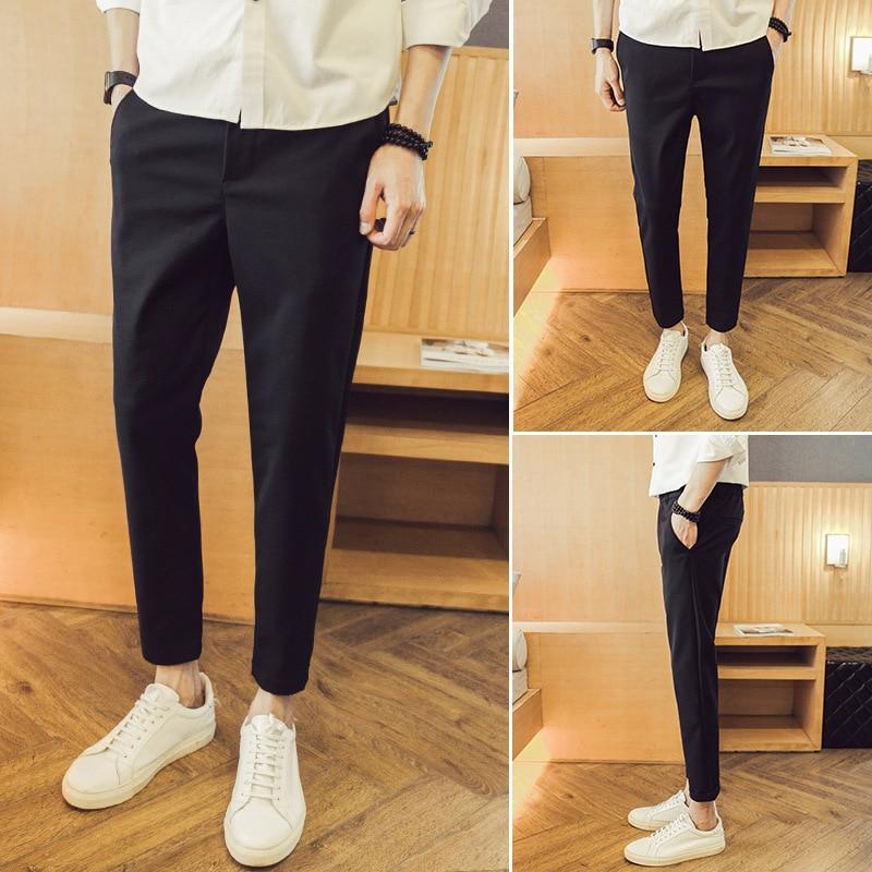 Autumn And Winter Korean-style Slim Fit Slimming 9 Points Skinny Pants Harem Pants Drape Suit Pants Fashion Man Capri Pants MEN'