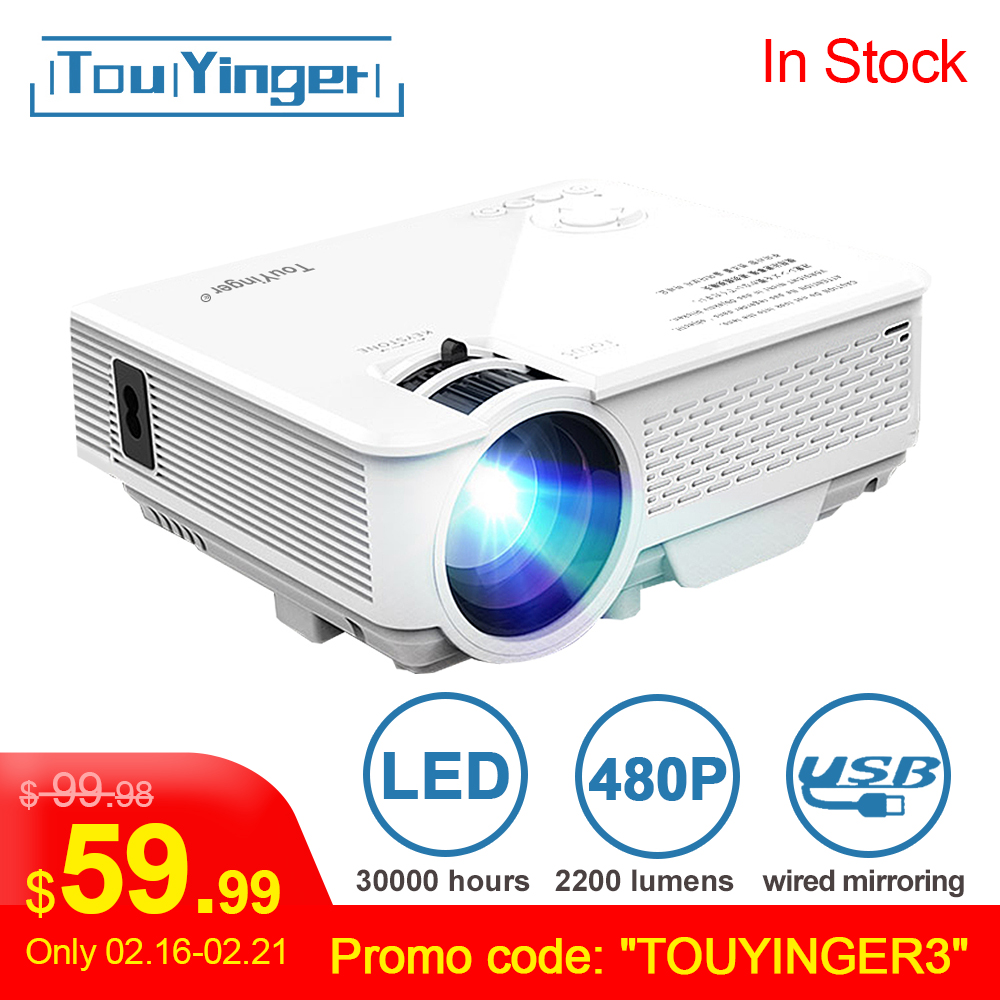 TouYinger LED Mini Projector M4, 800x480 Support Full HD Video Beamer For Home Cinema, 2200lumen Movie Projector Media Player