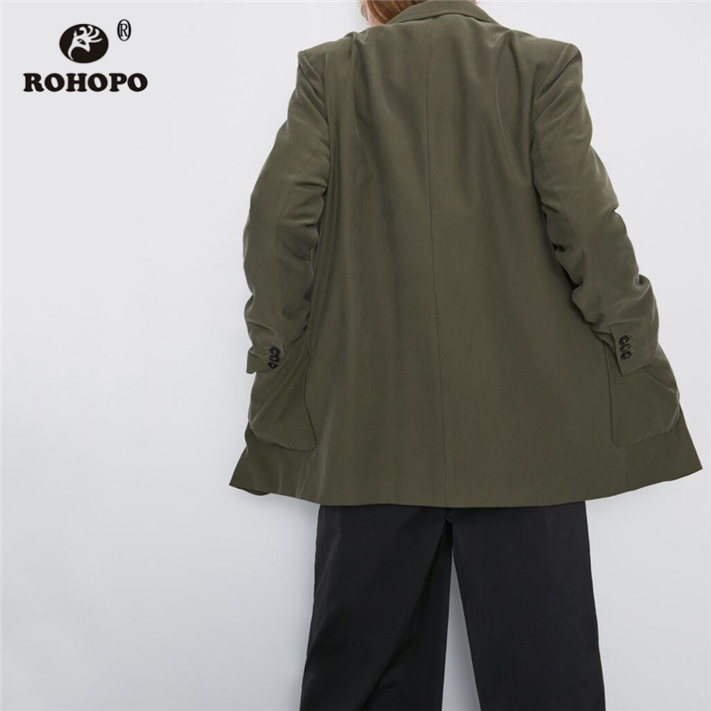 ROHOPO Notched Collar Double Buttons Fly Army Green Blazer Side Welted Pockets Buttons Cuff Solid Straight Ladies Outwear #2314