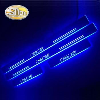 цена на For Jeep Grand Cherokee Patriot Renegade Wrangler Compass Dynamic Light Trim Pedal LED Car Light Door Sill Scuff Plate