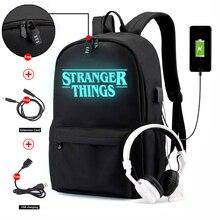 Coisas estranhas mochila multifuncional usb de carregamento para adolescentes meninos estudante meninas sacos de escola viagem saco luminoso portátil pacote