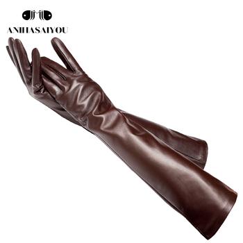 50cm długie skórzane rękawiczki klasyczne długie skórzane rękawiczki damskie ciepłe zimowe rękawiczki kożuchy damskie długie rękawiczki-CGB-50CM tanie i dobre opinie anihasaiyou Kobiety Prawdziwej skóry Dla dorosłych Stałe Elbow Moda