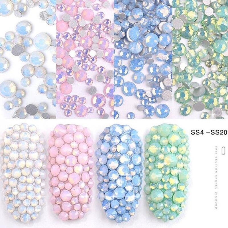 Multi Size Nail Art Crystal Glass Gems Flat Bottom Opal Nail Rhinestones