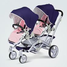Royal Purple Twin Baby Stroller Luxury Double Twins Carriage Portable High Landscape Reversible Hot Mom