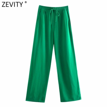 Zevity Women Simply Solid Green Color Pockets Casual Straight Pants Female Chic Elastic Waist Lace Up Summer Long Trousers P1116 1