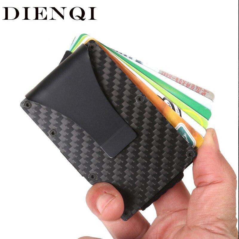 Dienqi fibra de carbono rfid homens carteiras de metal fino pequeno fino mini trifold carteira preto masculino inteligente bolsa cartão bolsa dinheiro vallet 2020